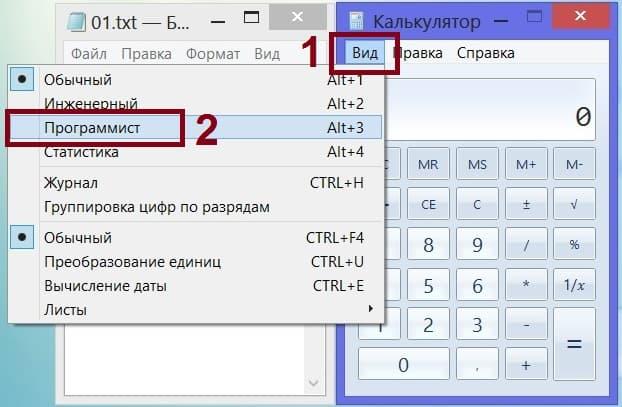 калькулятор в режиме Программист