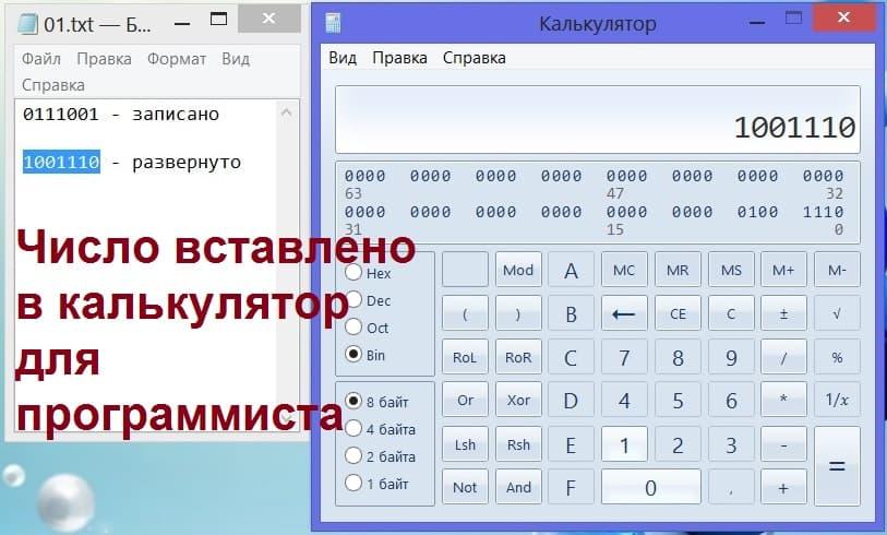 Вставка двоичного числа на калькуляторе для программиста